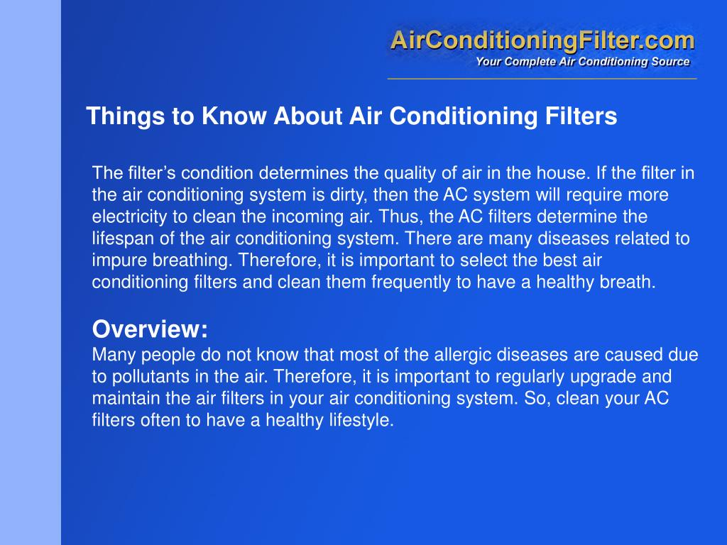 Things to Know About Air Conditioning Filters