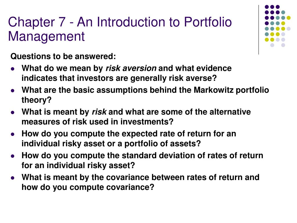 Chapter 7 An Introduction To Portfolio Management How To Calculate  Standard Deviation