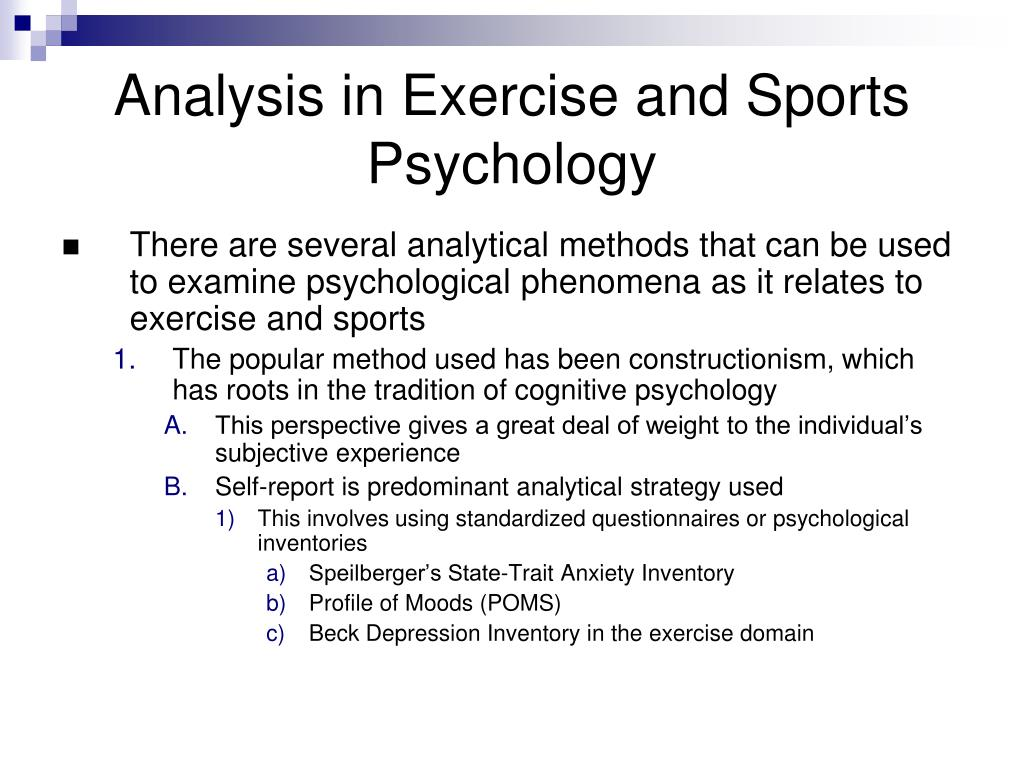 Analysis in Exercise and Sports Psychology