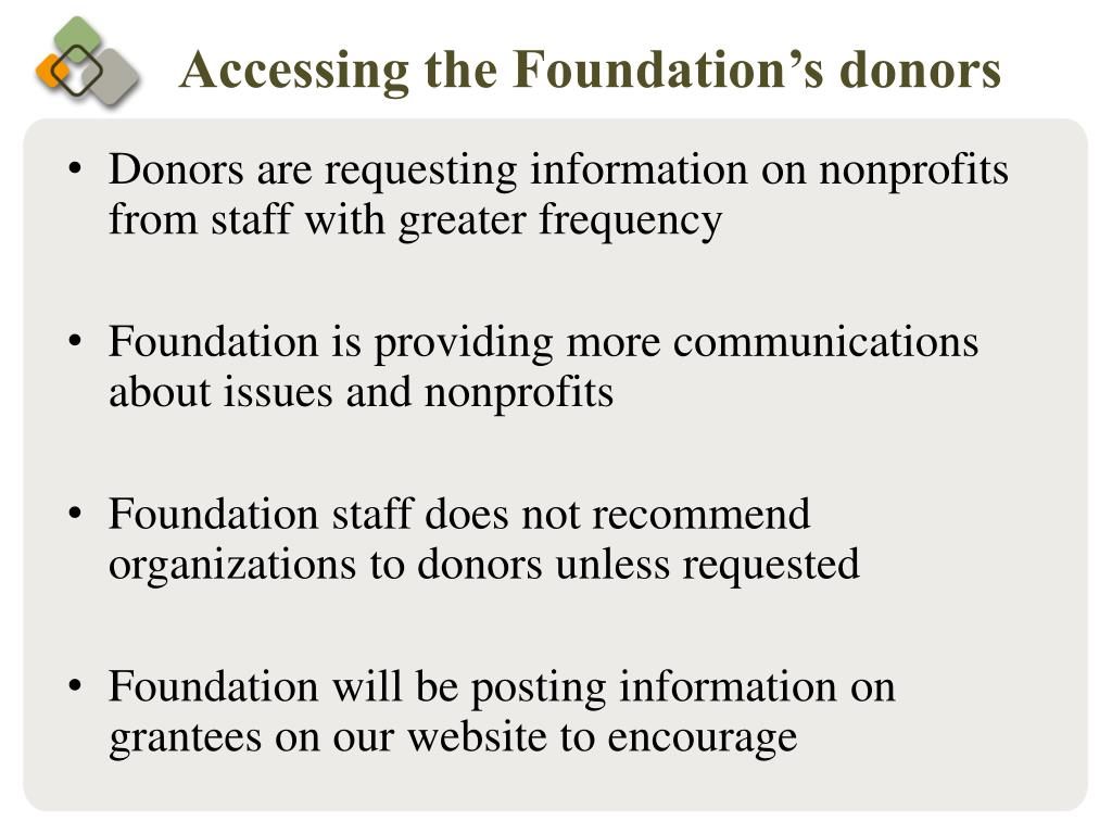 Accessing the Foundation's donors