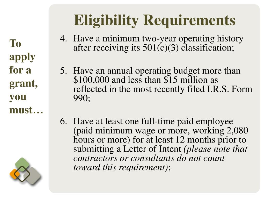 Have a minimum two-year operating history after receiving its 501(c)(3) classification;