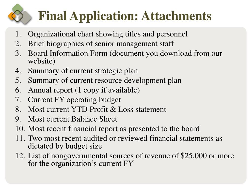 Final Application: Attachments