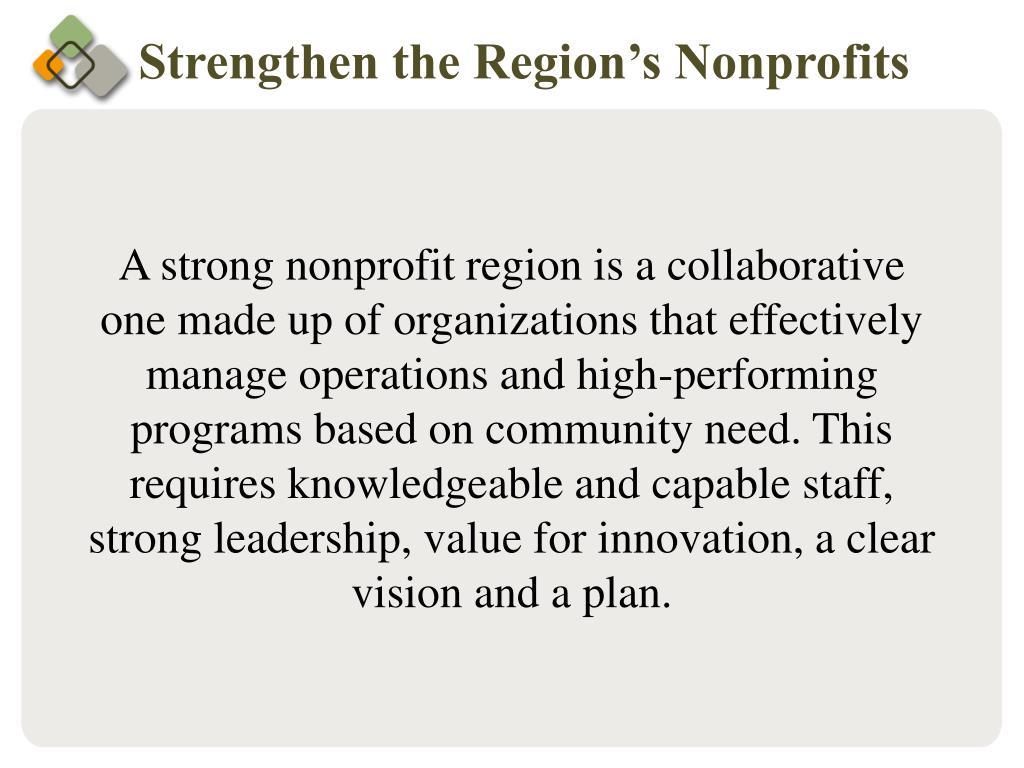 Strengthen the Region's Nonprofits