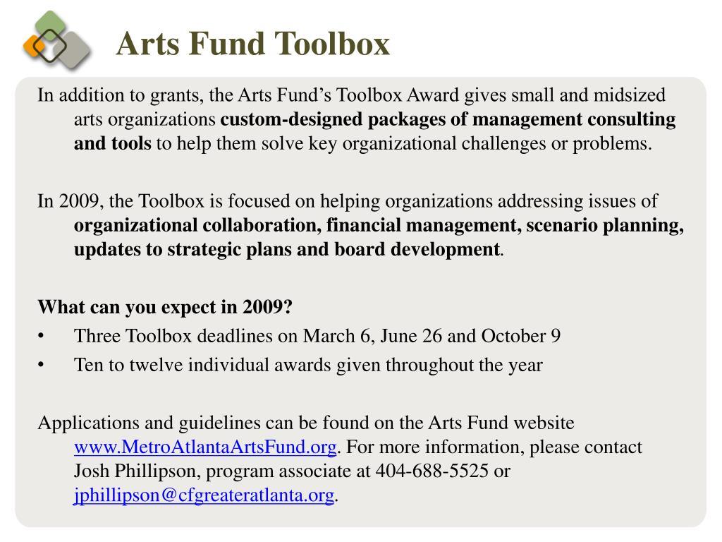 Arts Fund Toolbox