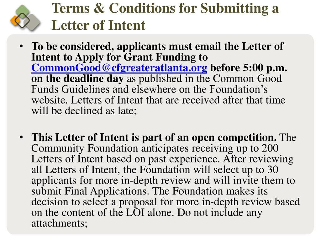 Terms & Conditions for Submitting a Letter of Intent