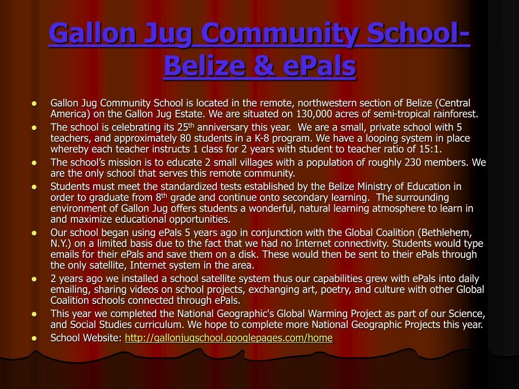 Gallon Jug Community School-Belize & ePals