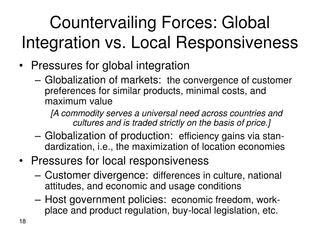 Countervailing Forces: Global Integration vs. Local Responsiveness