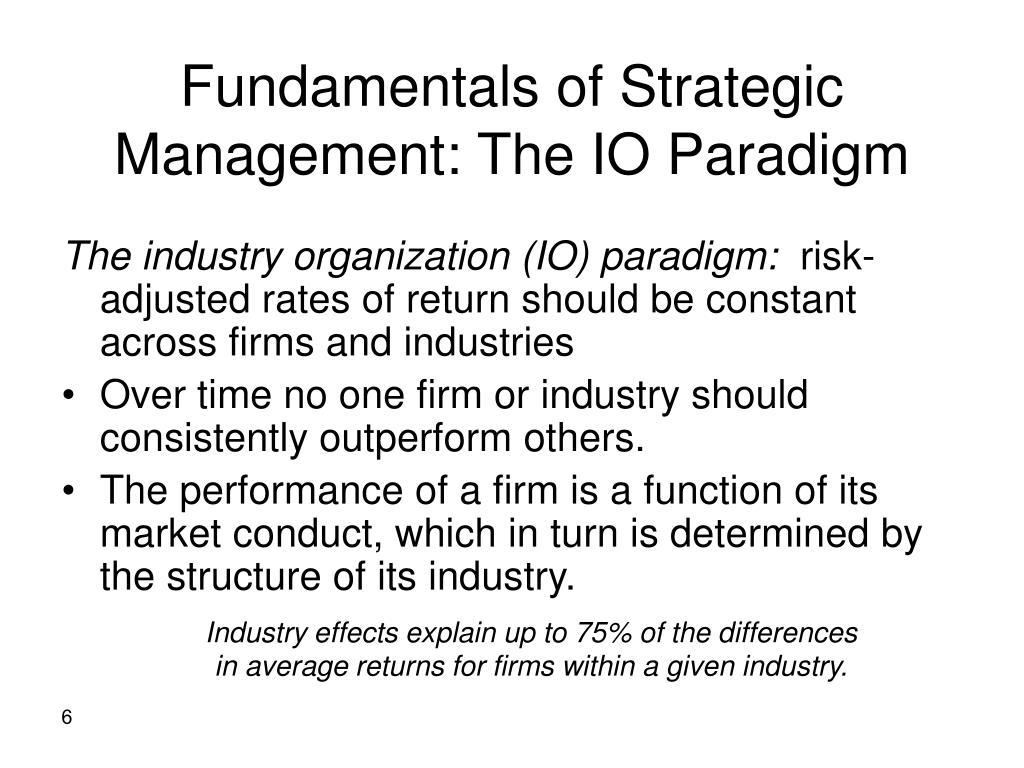 Fundamentals of Strategic Management: The IO Paradigm