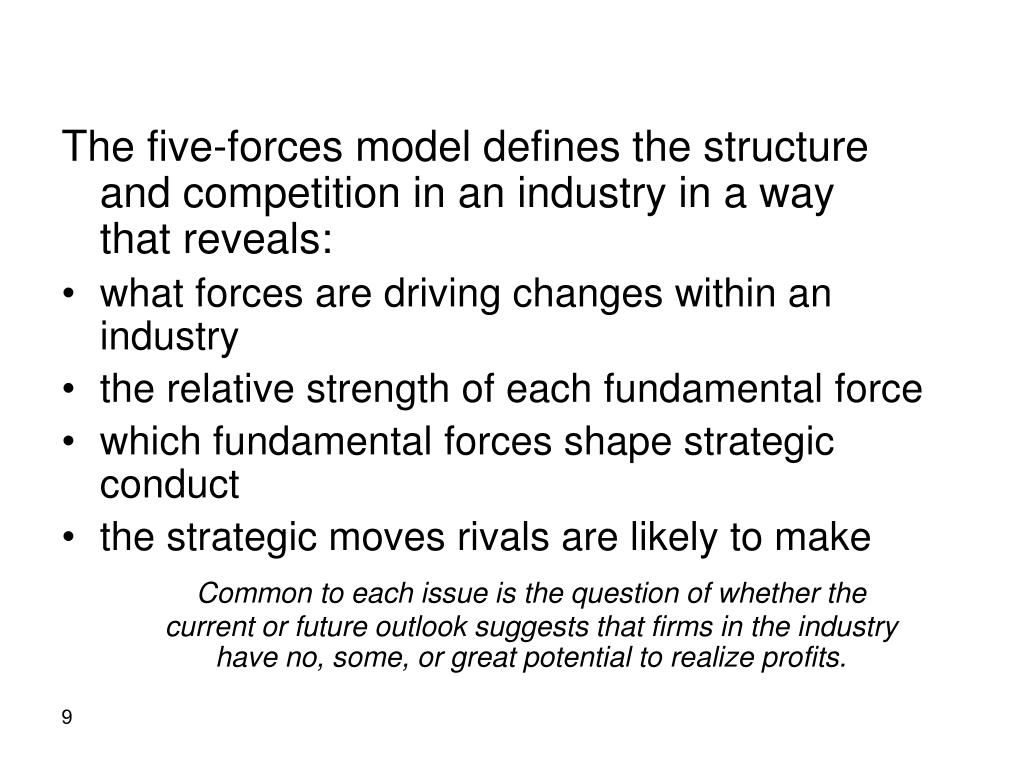 The five-forces model defines the structure  and competition in an industry in a way     that reveals:
