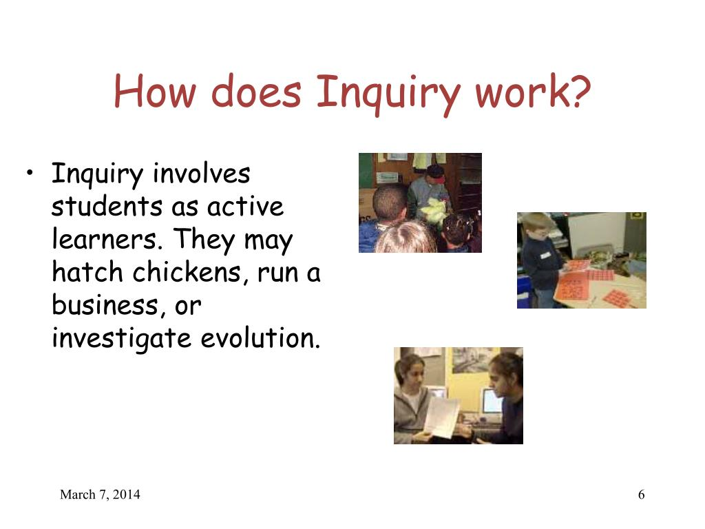 Inquiry involves students as active learners. They may hatch chickens, run a business, or investigate evolution.