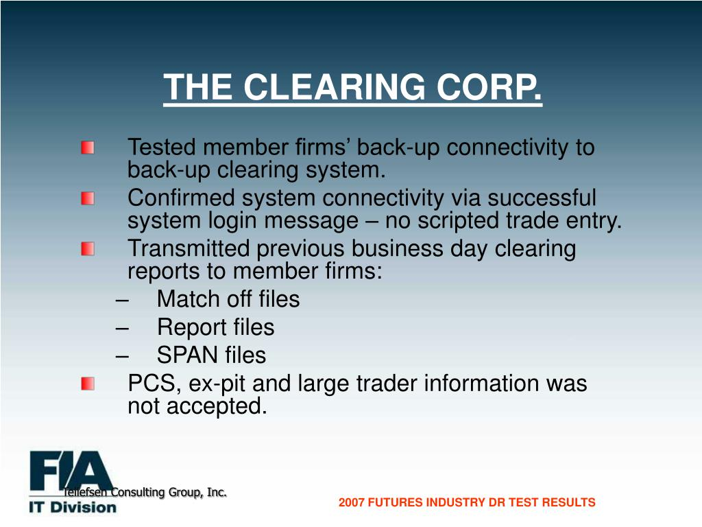 THE CLEARING CORP.