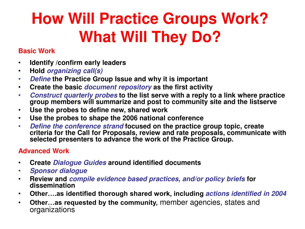 How Will Practice Groups Work?   What Will They Do?