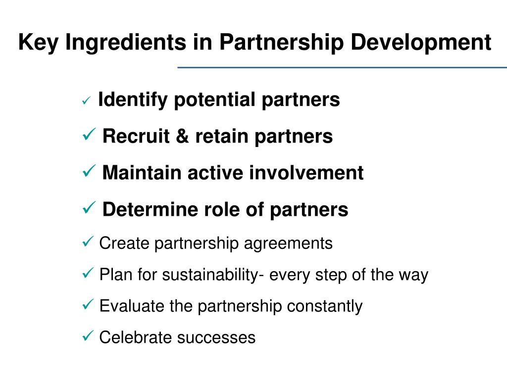 Key Ingredients in Partnership Development