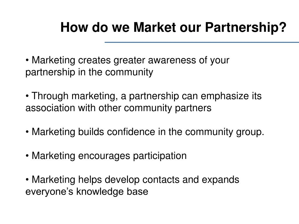 How do we Market our Partnership?