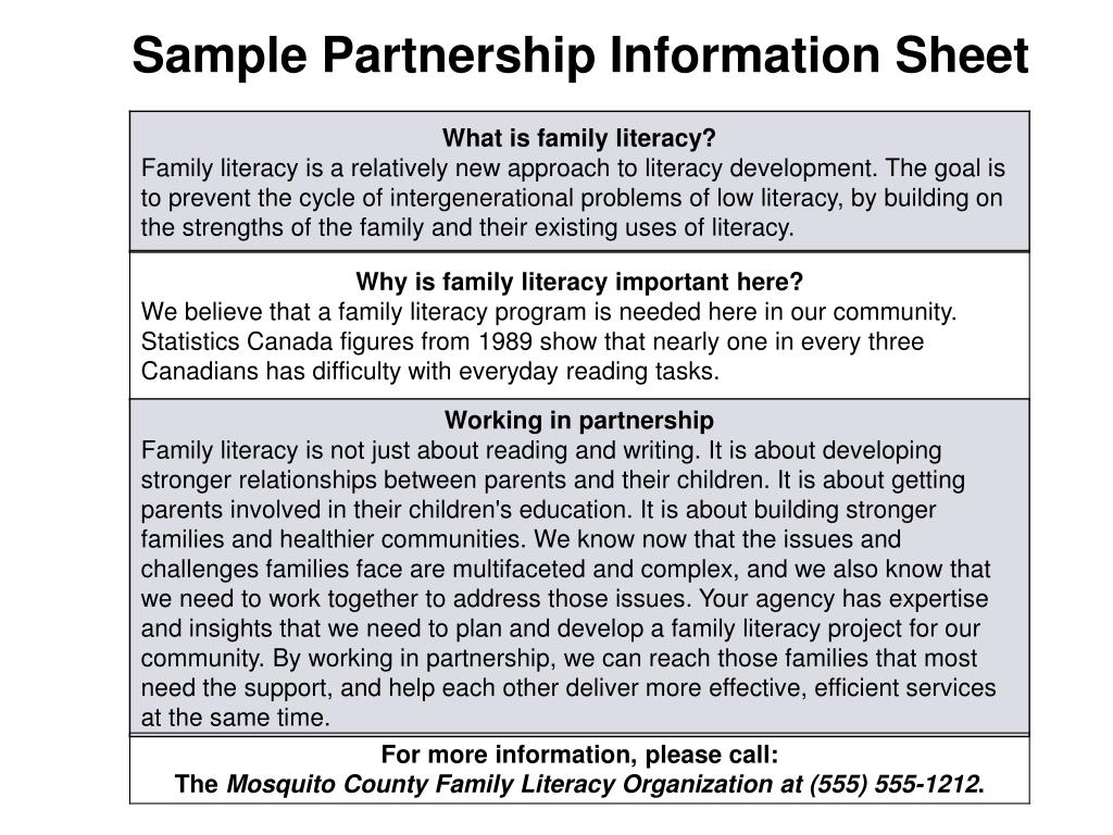 Sample Partnership Information Sheet