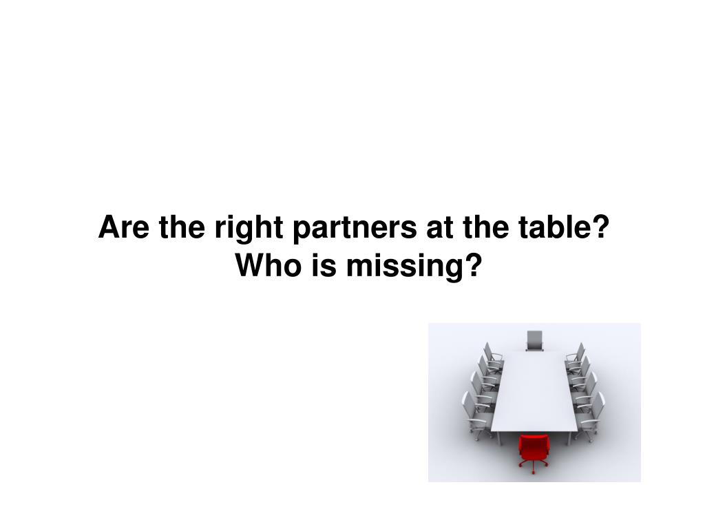 Are the right partners at the table?