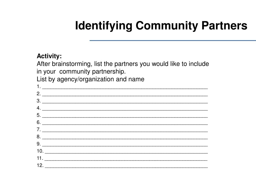 Identifying Community Partners