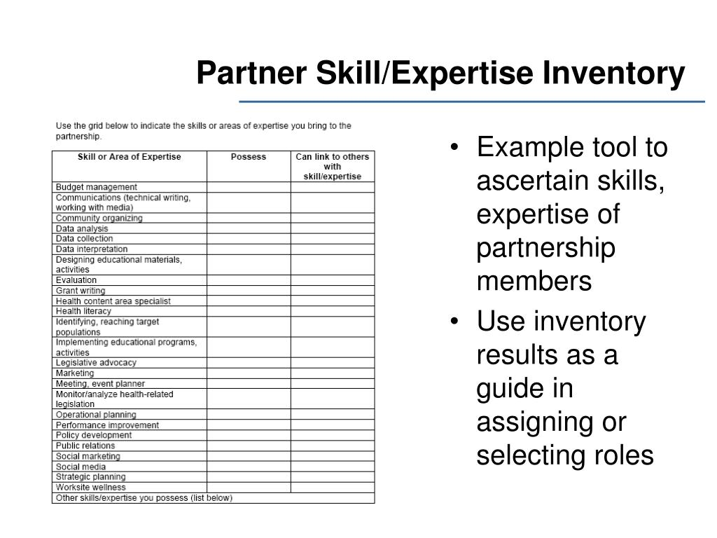 Example tool to ascertain skills, expertise of partnership members