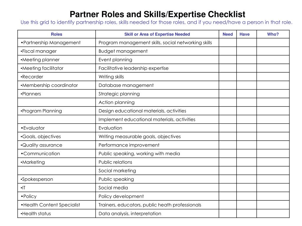 Partner Roles and Skills/Expertise Checklist