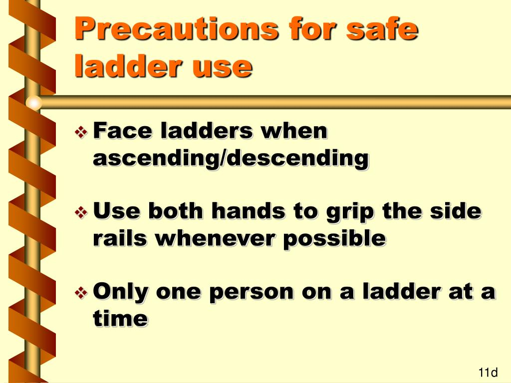Precautions for safe ladder use