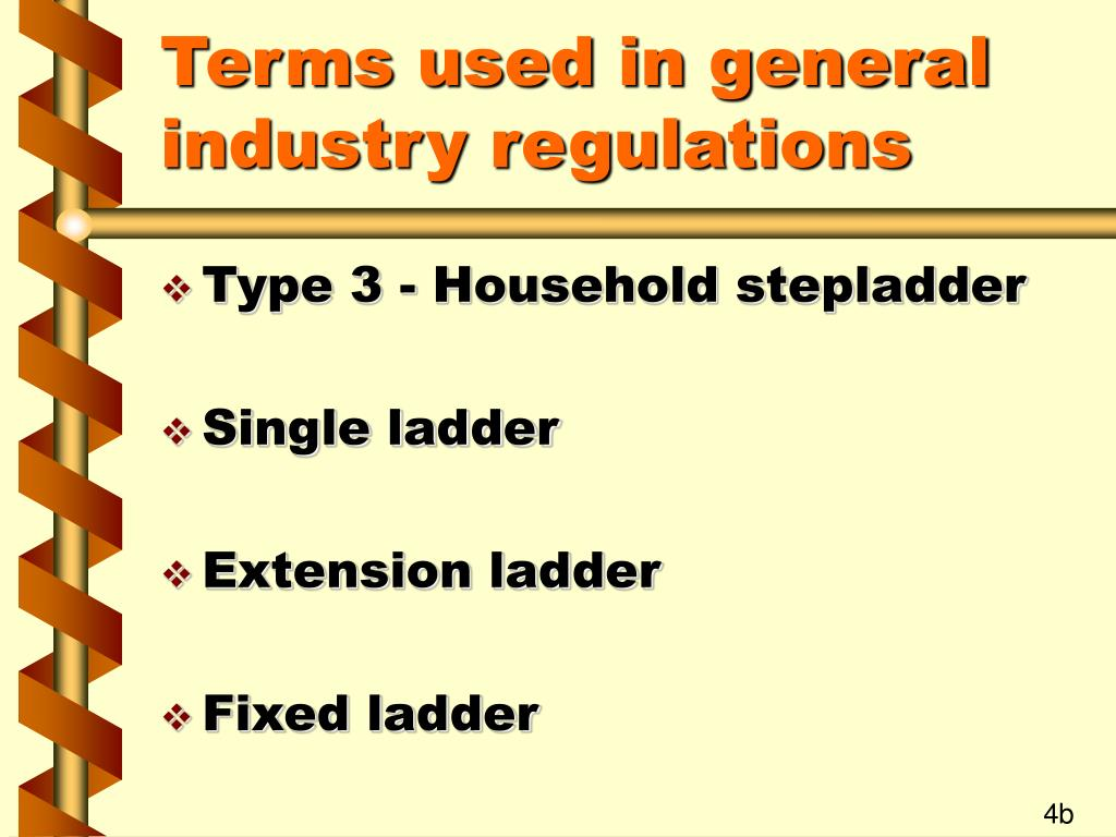Terms used in general industry regulations