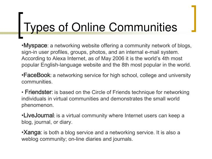 Types of online communities