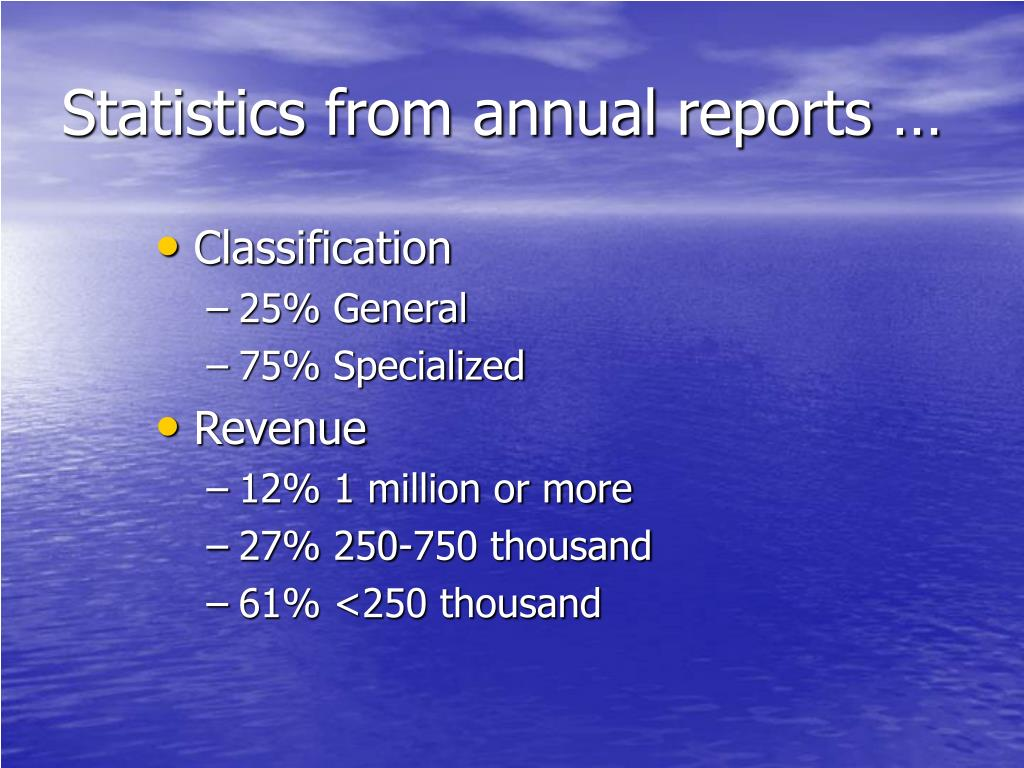 Statistics from annual reports …