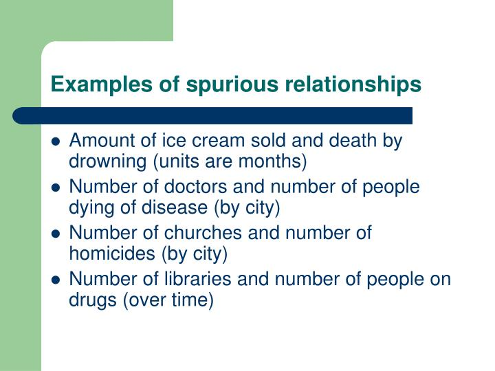 Examples of spurious relationships
