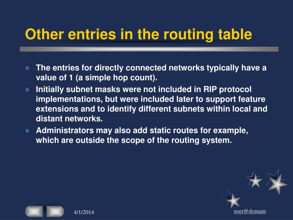 Other entries in the routing table