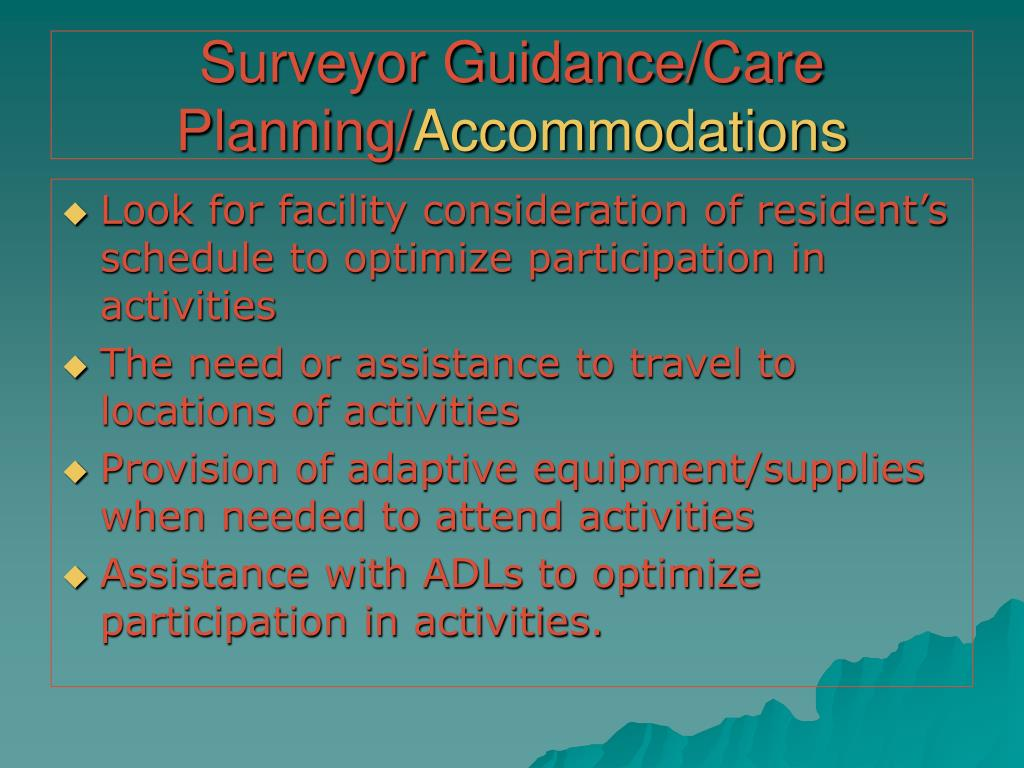 Surveyor Guidance/Care Planning/