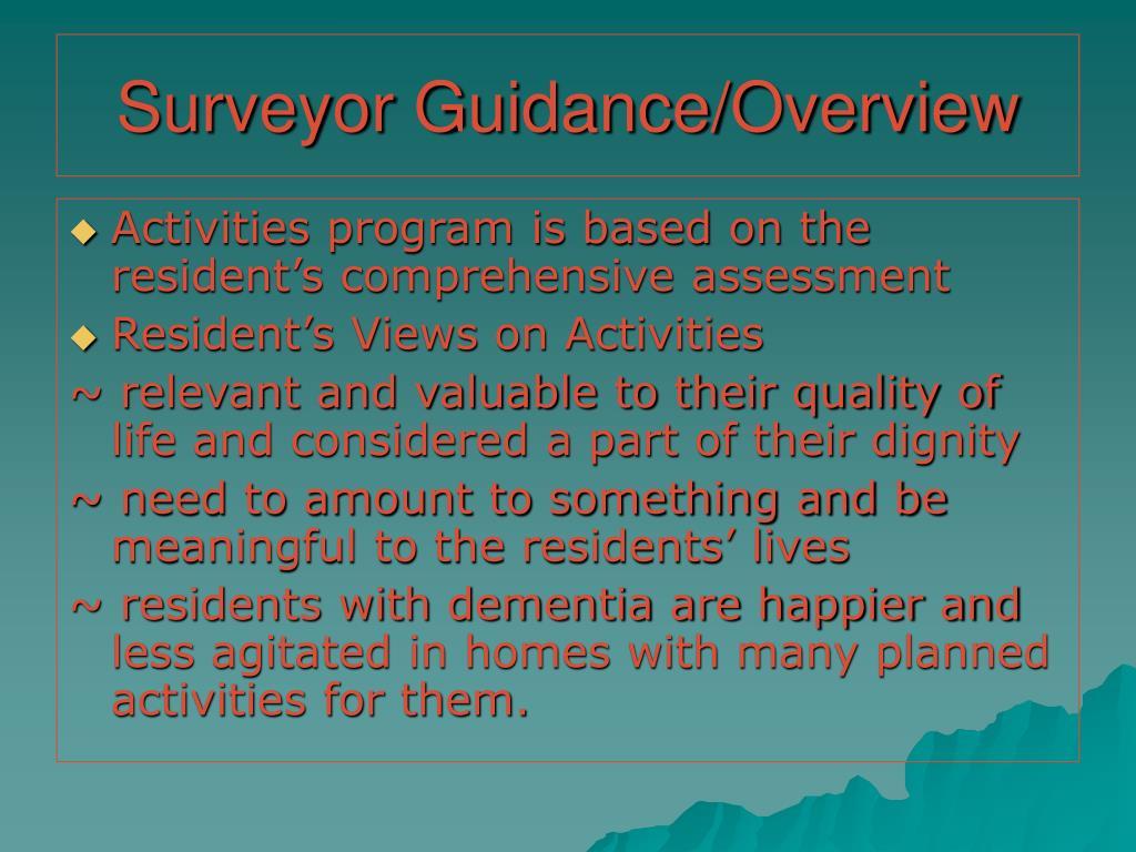 Surveyor Guidance/Overview