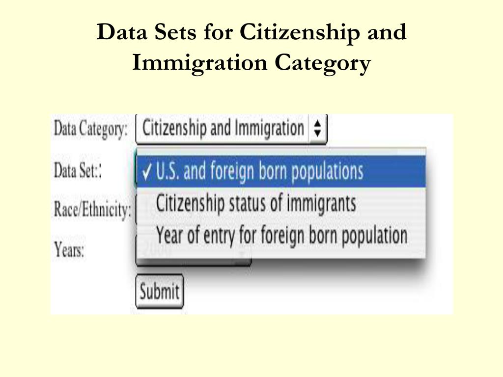 Data Sets for Citizenship and Immigration Category