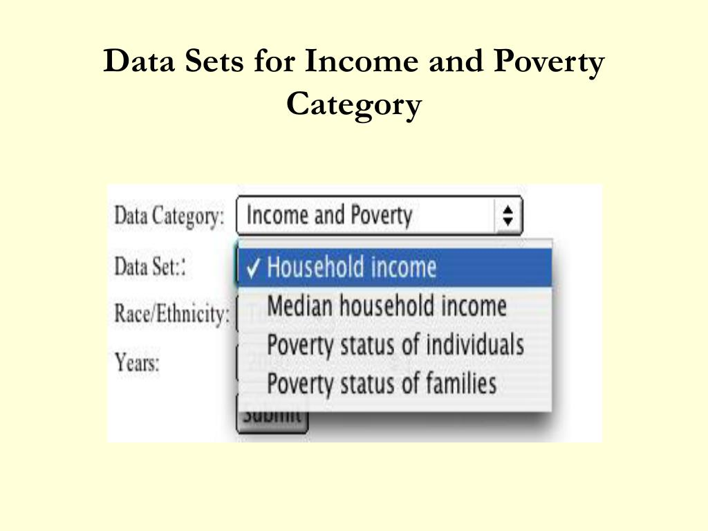 Data Sets for Income and Poverty Category