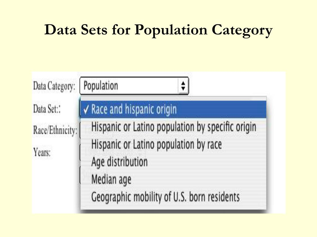 Data Sets for Population Category