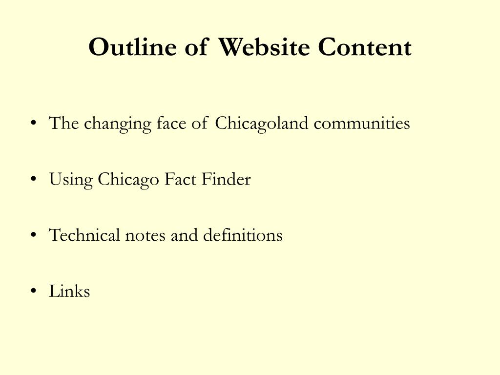 Outline of Website Content