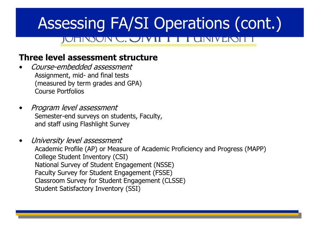 Assessing FA/SI Operations (cont.)