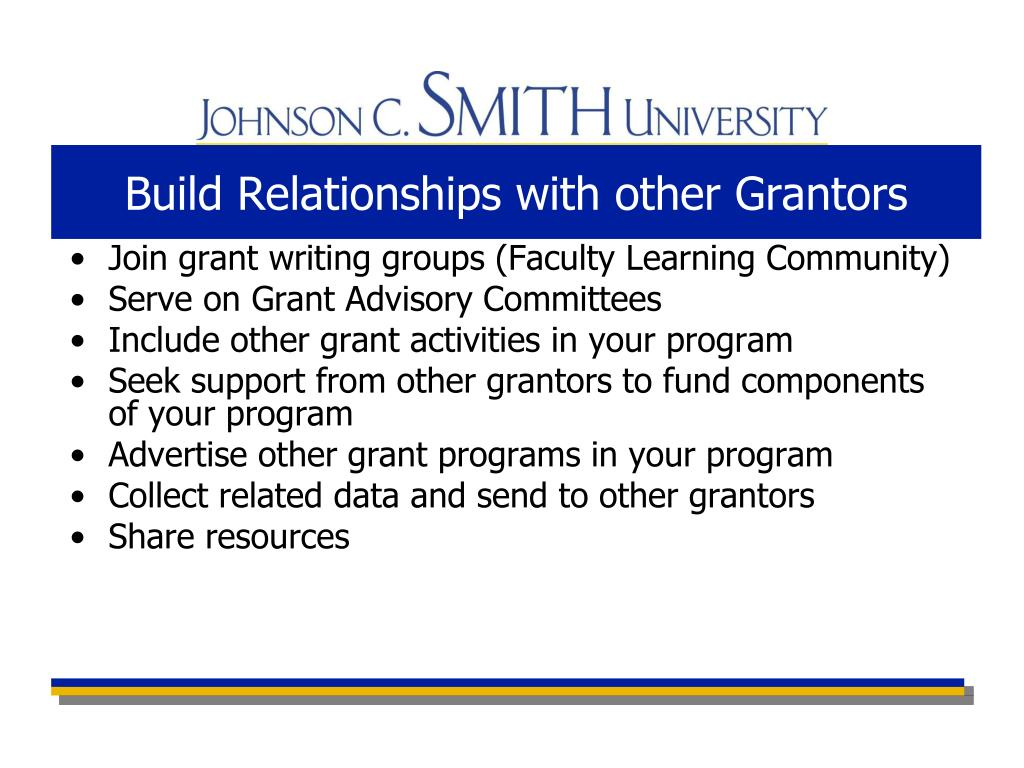 Build Relationships with other Grantors