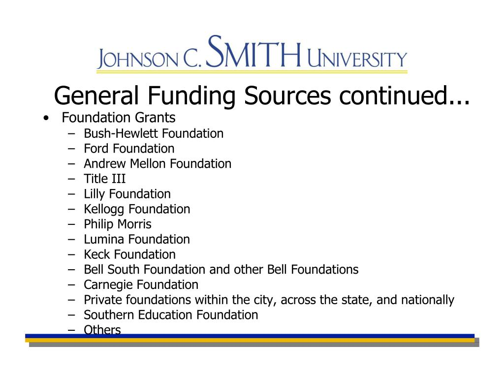 General Funding Sources continued...
