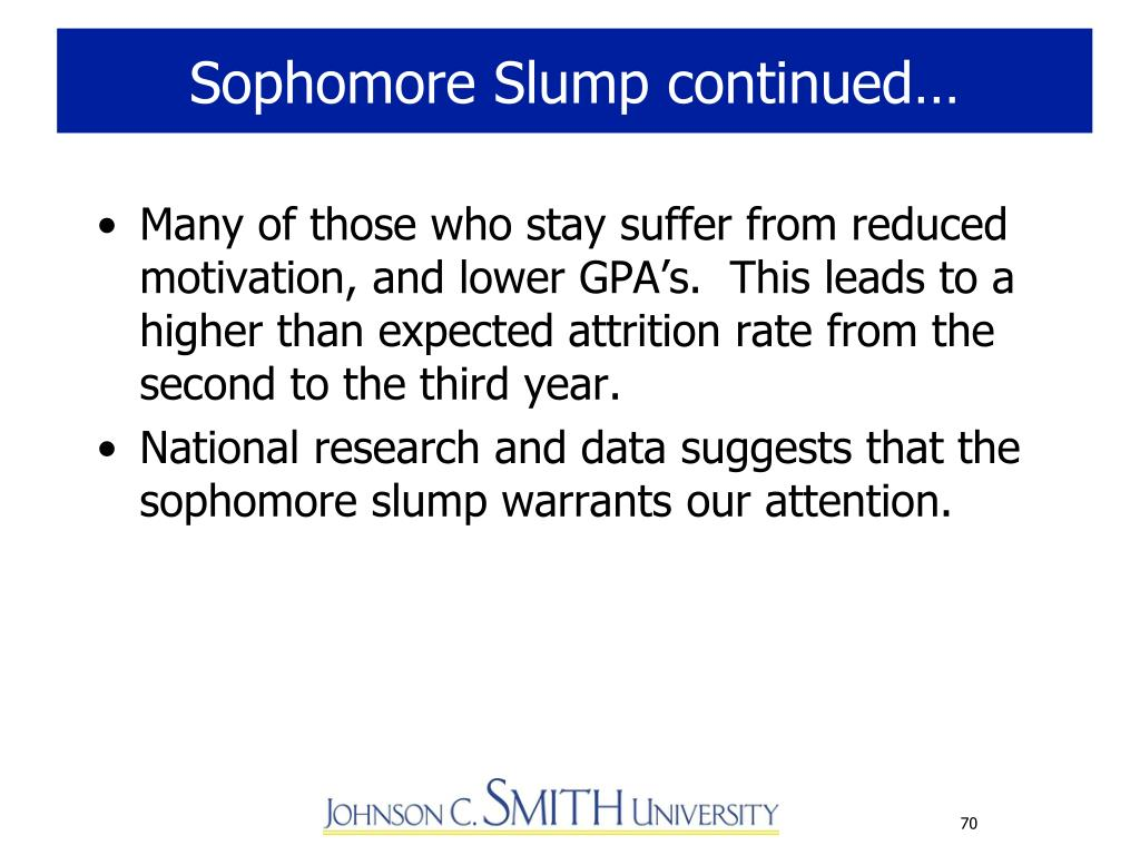 Sophomore Slump continued…