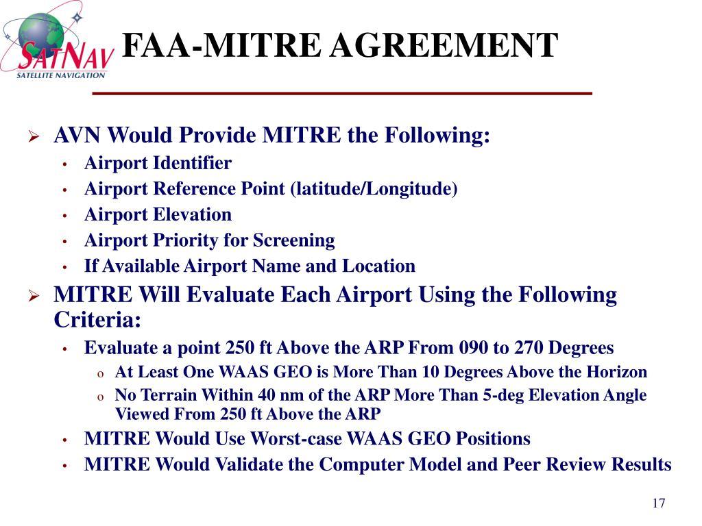 FAA-MITRE AGREEMENT