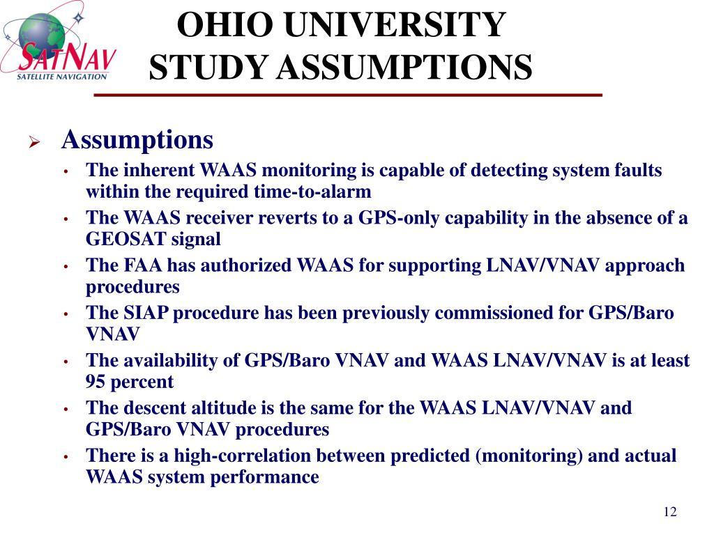 OHIO UNIVERSITY STUDY ASSUMPTIONS