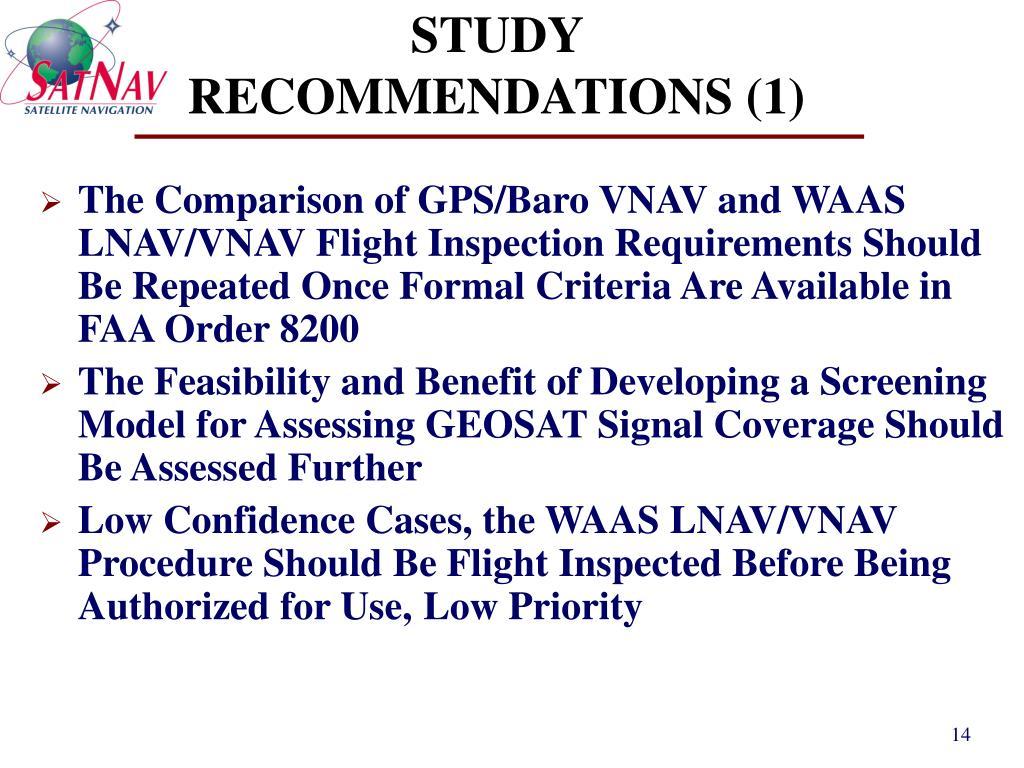 STUDY RECOMMENDATIONS (1)
