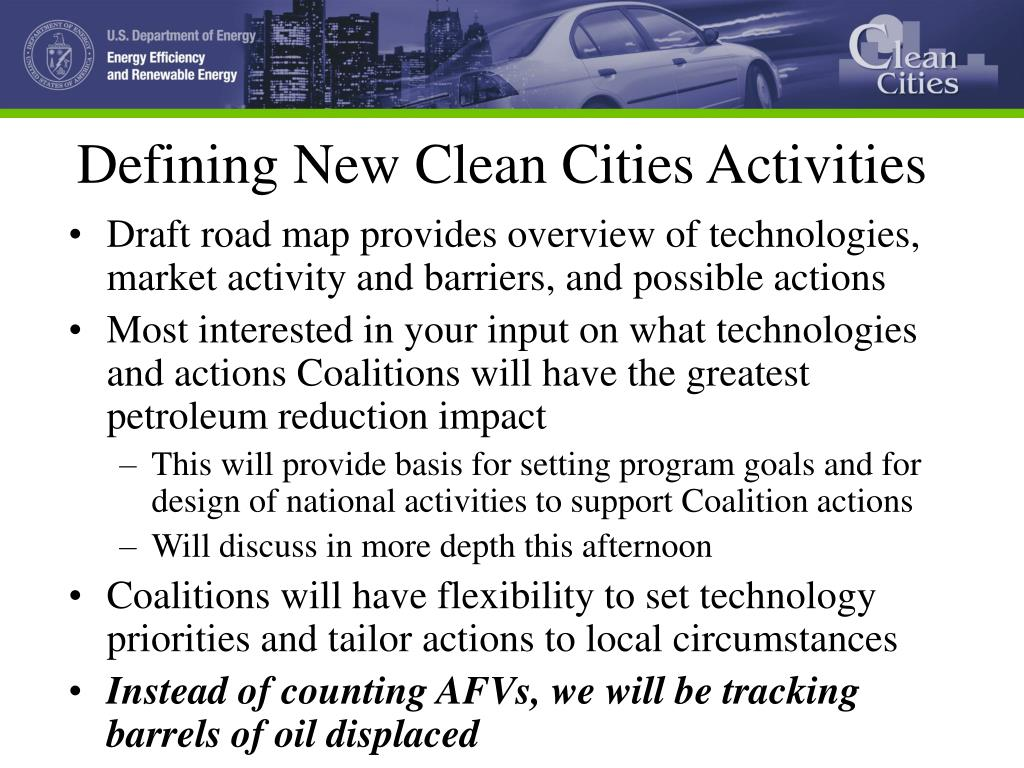 Defining New Clean Cities Activities