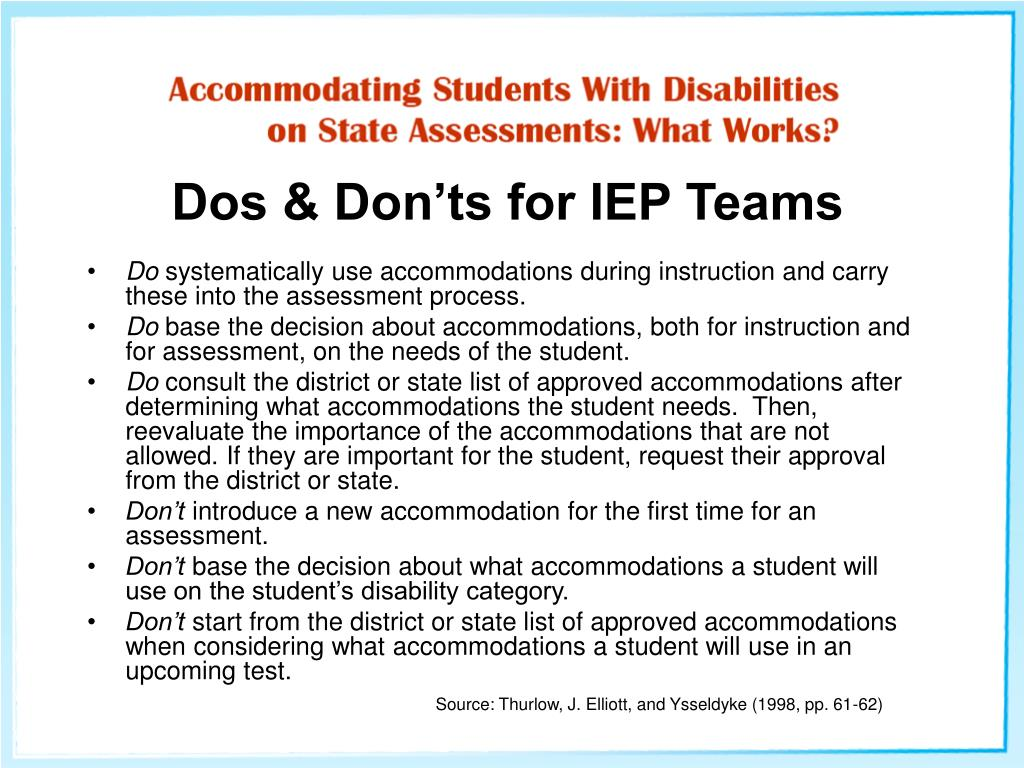 Dos & Don'ts for IEP Teams