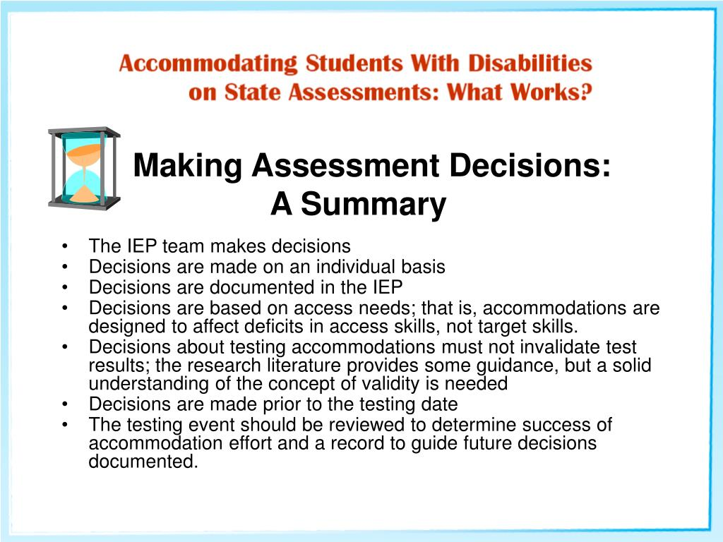 Making Assessment Decisions: