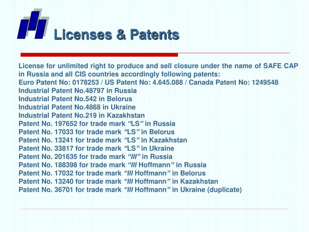 Licenses & Patents