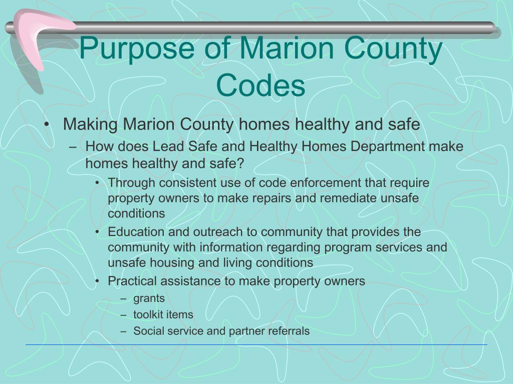 Purpose of Marion County Codes