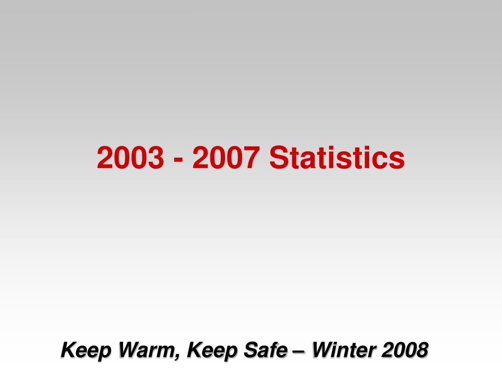 2003 - 2007 Statistics