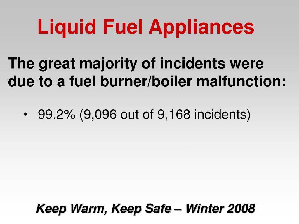The great majority of incidents were due to a fuel burner/boiler malfunction: