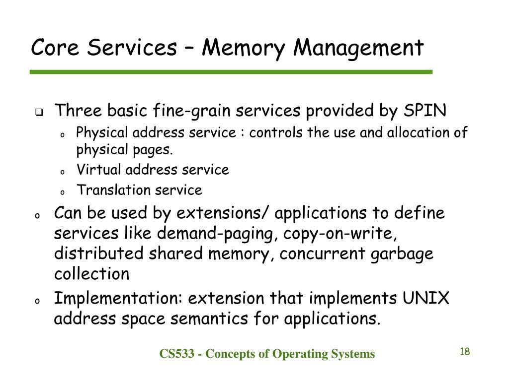 Core Services – Memory Management